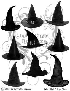 Witches Hats Collage Digital Sheet JPG by indigochyld on Etsy, $2.75