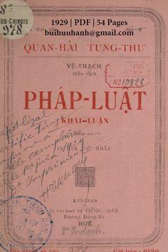 Pháp Luật Khái Luận (NXB Tiếng Dân 1929) - Vệ Thạch, 54 Trang | Sách Việt Nam Bullet Journal, Books, Libros, Book, Book Illustrations, Libri