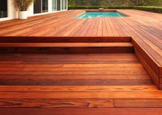 This beautiful deck is redwood. The California Redwood Company took this photograph in Hollywood, CA. (not composite rubber decking)