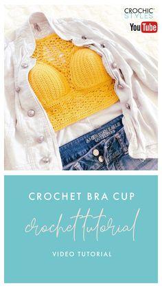 Crochet Bra, Crochet Clothes, Free Crochet, Beginner Crochet, Crochet For Beginners, Crochet Tutorials, Crochet Ideas, Bra Cup Sizes, Halter Tops