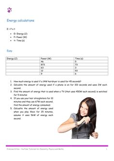 Energy Calculation. P=E/t. 10 Easy, 10 medium, 10 hard. Including Answers