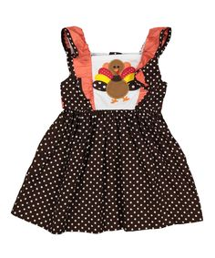 Love this Brown Polka Dot Turkey Ruffle Dress - Infant, Toddler & Girls by Lil Cactus on #zulily! #zulilyfinds