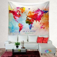 16 in x 24 in paint splashes world map canvas art multi looking for that special piece of home dcor to transform your room from ordinary to extraordinary a tapestry is so much more than a simple home dcor item gumiabroncs Images