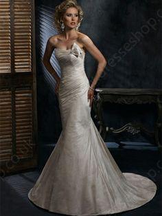 Trumpet/Mermaid Strapless Taffeta Sweep Train Crystal Brooch Wedding Dresses -£153.99