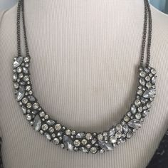 Gorgeous Sparkling Necklace Genuine crystals adorn this statement piece with a double hematite adjustable chain, perfect to dress up any outfit Diamond Girl Jewelry Necklaces