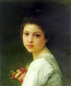 Charles Amable Lenoir, Portrait Of A Young Girl With Cherries.