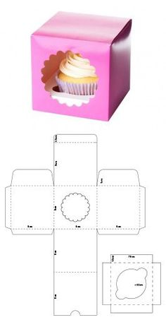 -Cupcake box - Use this free printable house template to make a gingerbread house! So cute- and no sugar rush unless you want it! Descarga gratis el molde en mi sitio web - 【】 韩国 烘焙 包装 白色 方形 带 窗口 手提 蛋糕盒 西 点 盒 6 孔 现货 Stampin´ Up! Cupcake-Box Step by Step Diy Gift Box, Diy Box, Diy Gifts, Cardboard Box Crafts, Paper Crafts, Cake Boxes Packaging, Paper Box Template, House Template, Cupcake Boxes