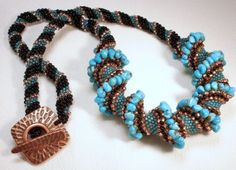 Turquoise Treasure Cellini Spiral Beadwoven by littlestonedesign
