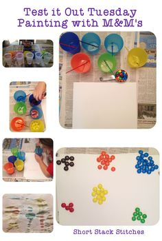 Test it Out Tuesday - Painting with M&M's! Fun and yummy painting craft for kids, so fun and tasty!