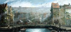 Merlos Fantasy art landscapes Fantasy city Fantasy landscape