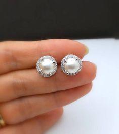 Buy Now bridesmaid gift bridal earrings wedding jewelry half. Bridal Necklace, Bridesmaid Earrings, Bridesmaid Gifts, Wedding Jewelry, Pearl Stud Earrings, Pearl Studs, Pearl Cream, Matching Necklaces, Bridal Gifts