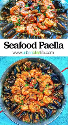 This easy seafood paella recipe is packed with succulent shrimp, mussels, chicken, and chorizo in a hearty saffron broth. Salmon Recipes, Fish Recipes, Seafood Recipes, Seafood Meals, Beef Recipes, Tapas, Seafood Dinner, Dinner Parties, Easy Dinner Recipes