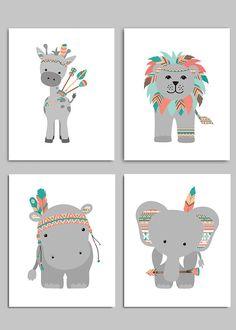Tribal Nursery Art, Boho Nursery, Tribal Zoo Animals, Tribal Elephant, Tribal Hippo, Tribal Giraffe, Tribal Lion Decor, Boho Nursery Prints: This is a set of the FOUR prints shown above. The price includes all four prints. Prints are freshly printed to order on 69 lb commercial