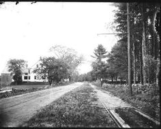View of trolley lines on Atlantic Avenue. dirt roads | Rye Historical Society