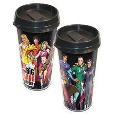 Big Bang Theory Cast Superheroes Travel Mug for the hubby