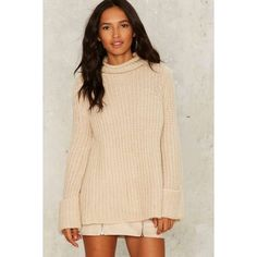 Cuff Around the Edges Turtleneck Sweater ($58) ❤ liked on Polyvore featuring tops, sweaters, beige, oversized tops, polo neck sweater, chunky turtleneck, beige top and oversized sweaters