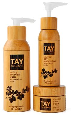 Tay skincare packs, by Sarah Tay, are made from bamboo, a renewable resource that can be harvested almost daily. The labels are etched onto the bamboo bottles and use no ink.