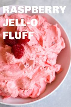 Light and fluffy, this Raspberry Fluff Jell-O Salad only has 5 ingredients and comes together in a matter of minutes. It's the perfect light dessert or even side dish at your potluck party. #dessert #sidedish
