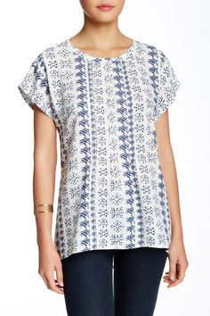 Short Sleeve Pleat Front Blouse  by Pleione on @nordstrom_rack