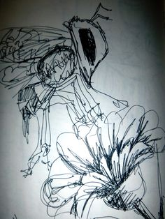 Fineline pen drawing of a bee and a flower done in time to spare.