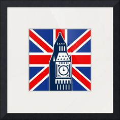 """""""London Big Ben British Union Jack flag"""" by Aloysius Patrimonio, auckland // illustration of a an icon with Great Britain  British Union Jack flag and Big Ben Clock Bell Tower // Imagekind.com -- Buy stunning fine art prints, framed prints and canvas prints directly from independent working artists and photographers."""