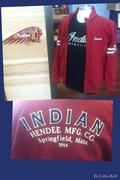 Black Short Sleeve Indian T-Shirt * Red Long sleeve Zip Up Indian Jacket