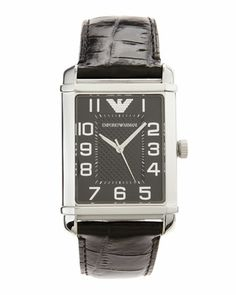 For hubby....Large Rectangular Croc-Embossed-Strap Watch, Black, Men\'s  by Armani Watches at Neiman Marcus Last Call.