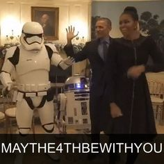 5 MAY: U.S. President Barack Obama and his wife Michelle dance with R2-D2 and stormtroopers to celebrate International Star Wars Day. A video of the couple was posted on the White House website on Wednesday (May 4). #MayThe4thBeWithYou #StarWars #Potus #Flotus #UptownFunk @MarkRonson #BBCShorts @BBCNews by bbcnews