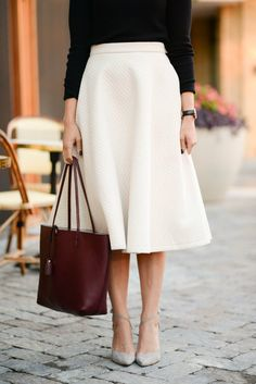 Street style | Chic white skirt, burgundy tote bag and grey strapped heels via @mustardcat300. #skirts #streetstyle