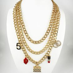 Celebrity Style Three Layer Makeup Necklace