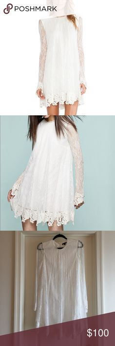 Rachel Zoe Lace Babydoll Serafina Dress Worn once for my winter engagement party for 3 hours and dry cleaned. Like new, perfect Condition. Size 4. Rachel Zoe Dresses Long Sleeve