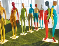 """The """"It Girl"""" female mannequins from Atrezzo in a striking color-blocked finish. Retail Trends, Color Trends, Color Blocking, Ronald Mcdonald, Concept, Female, Outdoor Decor, Design"""