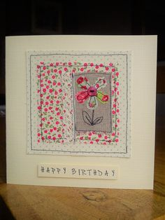 Machine sewn birthday card made with pretty fabrics, lace, burlap & a button