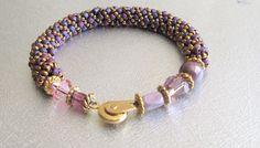 bead bracelet rose beadwork bracelet spiral beaded bracelet