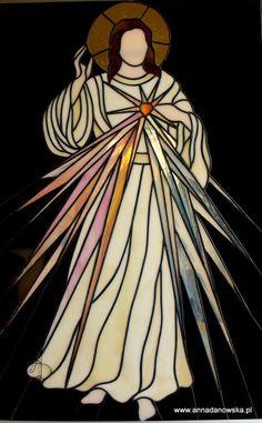 Witraże Tiffany Galeria Anna Danowska Jezus Miłosierny 36,5 x 57 cm