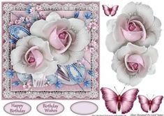 Simplicity 10 on Craftsuprint designed by Carol James - A beautifully simple floral 7 x 7 topper with decoupage pieces and 2 sentiment tags (plus a blank tag)Sentiments include:Birthday WishesHappy Birthday - Now available for download!