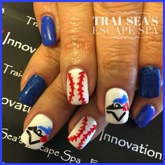 Toronto Blue Jay Nails Hand Painted By Trai Sea S Escape Spa