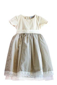 Little Babushka - Cream and checked dress