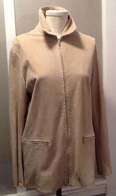 Loro Piana beige Suede leather Zip Jacket Unlined Sz It 44 US 6 #LoroPiana #suedejacket