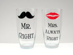 Items similar to Mr. Right and Mrs. Always Right/ Lips and Mustache Coffee Mugs on Etsy