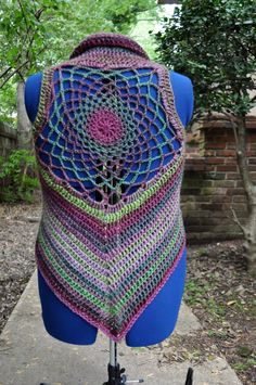 Dusty Rose Dreamcatcher Mandala Crochet Pixie Vest