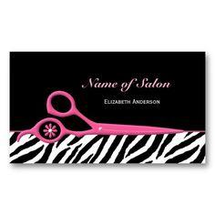 Elegant black and gold chevrons hair salon business card card trendy pink and black zebra hair salon scissors business card wajeb Images