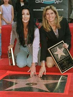 Sonny and Cher getting their star on the Hollywood Walk Of Fame 1998