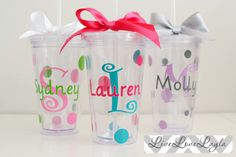 with Straw Clear Tumblers, Acrylic Tumblers, Clear Gift Bags, Easter Buckets, Tumbler With Straw, Monogram Initials, Adhesive Vinyl, Kids Gifts, Accent Colors
