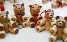 An assortment of bears made by Greg and Kathy Burdick, of Erie, who make arts and crafts decorations out of used and surplus wine corks.