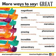 More Ways to Say Great - Speaking Study - English Learn Site Gcse English, English Tips, English Class, English Words, English Lessons, Learn English, English Grammar, English Idioms, English Writing