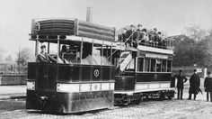 London tram with engine, heading to or from Ponders End, late 1890s