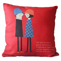 "18"" Square Sweet Lovers Cotton/Linen Decorative Pillow Cover – USD $ 14.99"