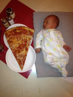 A New Jersey style pizza size compared to a baby. - Imgur