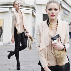 VErrrry Chic <3 Love the necklace and the use of black and beige. Perfectly chic.    (by Kristina Bazan) http://lookbook.nu/look/2710211-NUDE